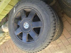 195/65R15 nokian Nordman 5 on 15 black Volkswagen rims