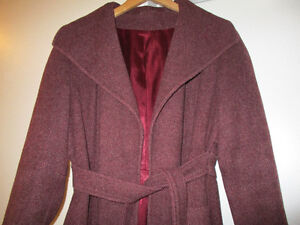 Vintage 60s Bromleigh Maroon Wool Trench Coat