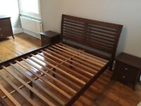 King size double bed, chest of drawers and bedside tables