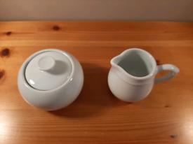 Pillivuyt Porcelain White Sugar Bowl and Creamer Milk Jug