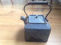 Antique cast iron enamel kettle