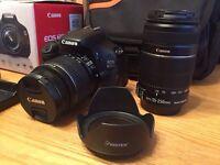Canon EOS 600D DSLR Camera lenses plus accessories