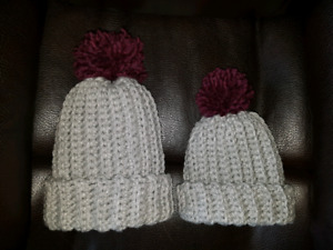 Matching mommy-toddler hand crocheted winter hats