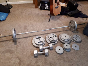 Weight set for sale - barbell, dumbells, and 180lbs of weight