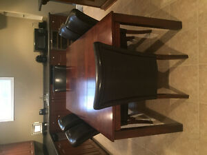 Dining Table w/ 6 dark brown feaux leather chairs