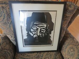 """BEAUTIFUL BLACK AND WHITE PRINT """" THE OLD MAN """" 1970"""
