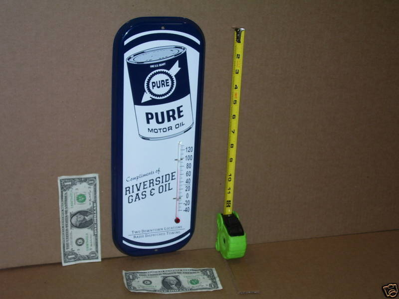 PURE OIL Co - Shows Old Quart Motor Oil Tin Can - GAS STATION - Temperature SIGN