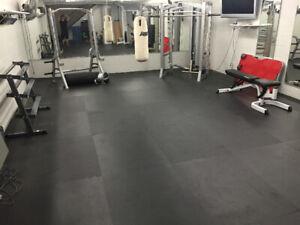 Black interlocking rubber gym flooring for sale!!