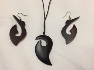 Wood Necklace and Earrings