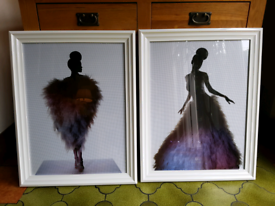 Two White framed Houte Couture pictures.