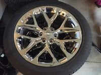22 inch low profile tires and chrome rims