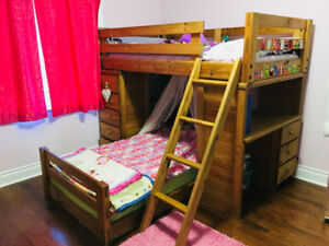 Solid Wood Bunk Bed with drawers and study desk