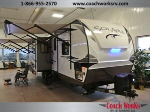 This just in! 2017 Solaire 312TSQBK UL bunk camper.