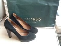 Black suede and leather Hobbs heels size 6.5