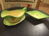 Berwick lettuce salad bowl and gravy boat vintage condition