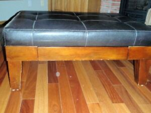 Large Square Black Leather Coffee Table