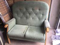 2 seater green settee