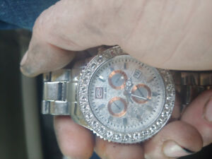 Marc echo silver watch with diamonds and silver wrist band