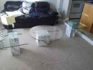Marble Base Glass Top Coffee and End Tables Kitchener / Waterloo Kitchener Area image 6