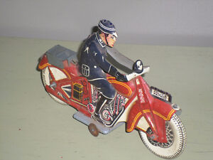 Antique 1930's? Tin Litho Wind-up Police Patrol Motorcycle Toy