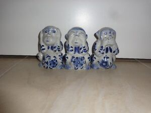"""Set of three gray and blue monkeys, each 5"""" tall x 3"""" wide"""