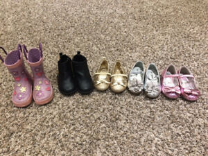 Several pairs of girls shoes and boots sizes 2 - 6