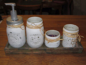White or Pink distressed Mason Jars with Flowers