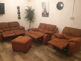 HARVEYS SUEDE LEATHER RECLINER 2x2 seater sofas and rocker arm chair