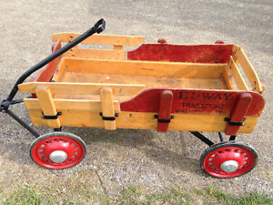 LARGE VINTAGE WOOD WAGON CHILD HI-WAY TRANSPORT