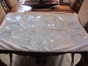 Vintage Clear Blue Bubble Dishes
