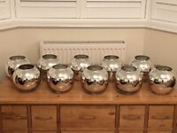 10 mirrored glass round cases ideal for wedding table centres