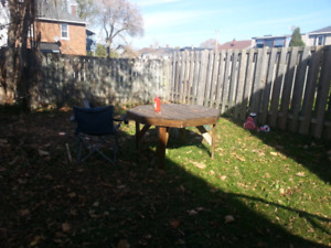Outdoor wood solid table
