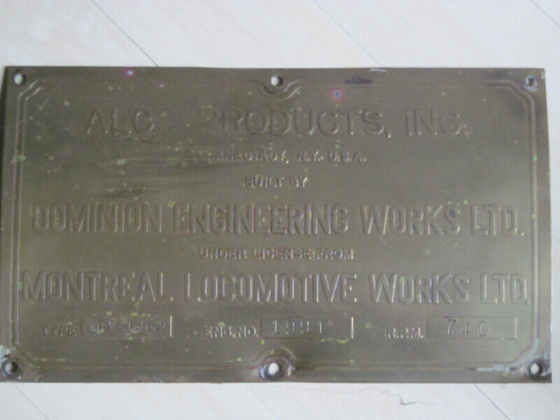 Locomotive Engine Plate- MLW -ALCO for sale