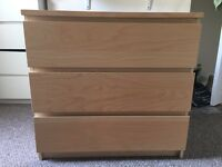 Chest of three drawers IKEA Malm VGC pine