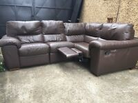 Brown leather Corner - l shape sofa •Free Delivery•
