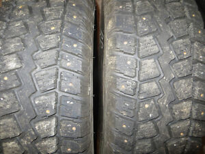 2 P215/70R16 COOPER STUDDED LIKE NEW SEVERE SNOW RATED TIRES