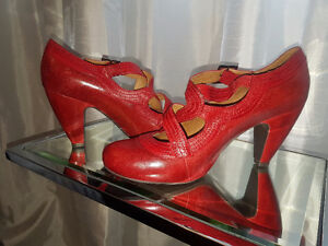 Worn 1x only Miz Mooz Red strappy close toed 2 inch shoes
