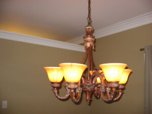 Chandelier with 6 glass shades, Bronze colour, Diameter: 27""