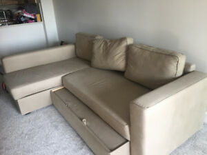 Beige sectional pullout