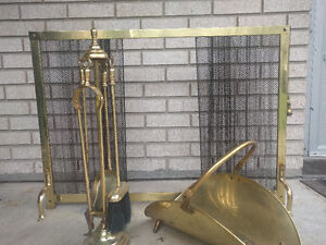 Brass Fireplace Tools, Screen and Wood Basket