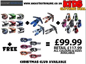 Kids clothing deal £99.99 helmet -race:suit -gloves get free goggles