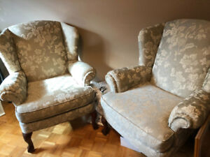 Two upholstered accent/ wing chairs