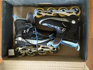 K2 size 8 skates and protective gear