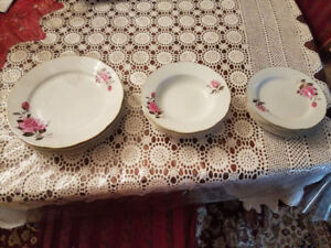 11-PIECE ROSE FINE CHINA DISHES FOR 4 PEOPLE