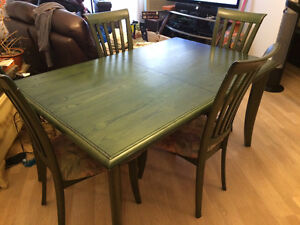 Dining table 4 chairs and matching storage unit