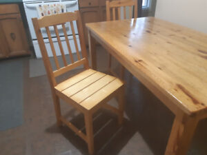 Solid Pine Dining Table and 2 Chairs