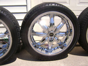 CHROME RIMS with HANKOOK 20 in.TIRES