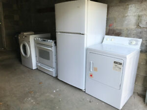 Set of 4 used kitchen & laundry appliances