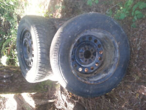 4 tires size P 215/70 R16 mounted on steel rims