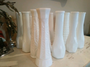 24 Vintage 1950s Milk Glass Vases